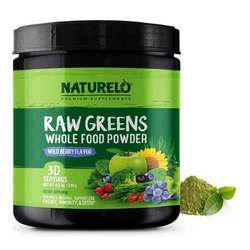 NATURELO Raw Greens Whole Food Powder Wild Berry Flavor