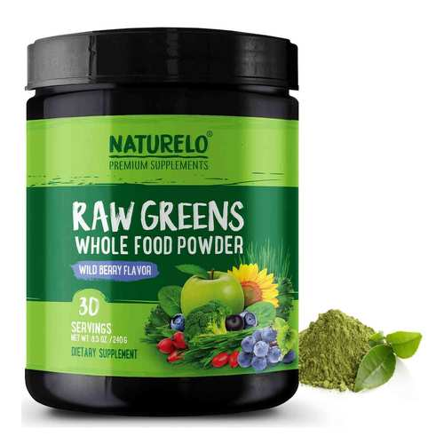NATURELO Raw Greens Whole Food Powder Wild Berry Flavor  240 g  - 30 Servings - 352705_front.jpg