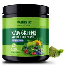 NATURELO Raw Greens Whole Food Powder Wild Berry Flavor 480 g