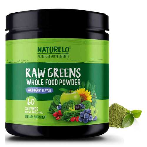 NATURELO Raw Greens Whole Food Powder Wild Berry Flavor 480 g - 60 Servings - 352707_front.jpg
