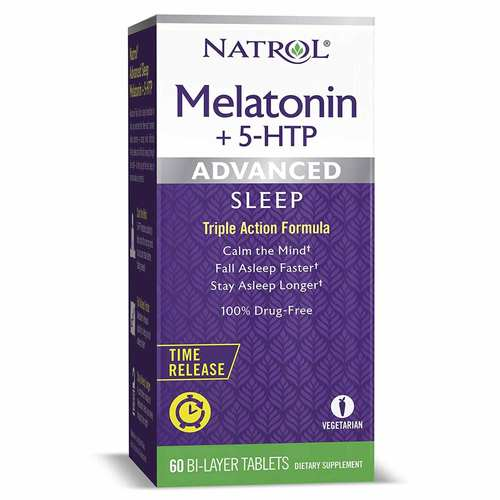 Natrol Advanced Sleep Melatonin + 5 HTP Bi-Layer Tablets  - 60 Bilayer Tablets - 312125_front.jpg