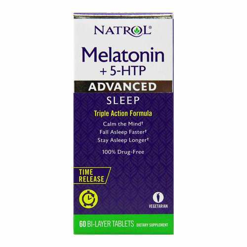Natrol Advanced Sleep Melatonin + 5 HTP Time Release - 60 Bilayer Tablets - 312125_front2020.jpg