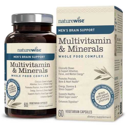 NatureWise Men's Multivitamin Mineral Whole Food Complex with Brain Support  - 60 Vegetarian Capsules - 350682_front_ok.jpg