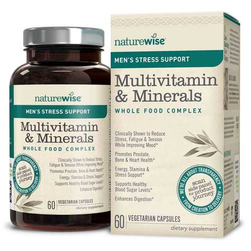 Men's Multivitamin Mineral Whole Food Complex with Stress Support