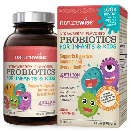 NatureWise Probiotics for Kids and Infants - 60 Tablets - 350691_frontbottle.jpg