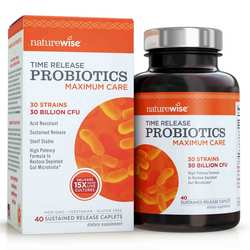 NatureWise Maximum Care Probiotics- Time-Release Probiotics- 30 Billion CFU