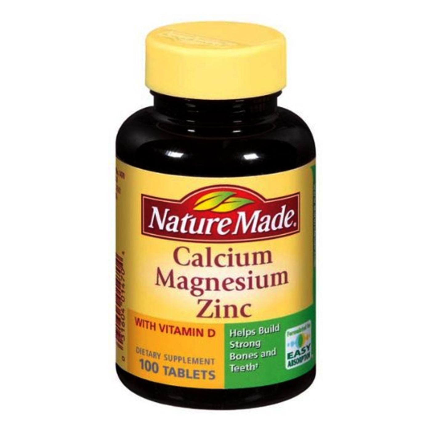 Nature Made Calcium Magnesium Zinc - 100 Tablets ...