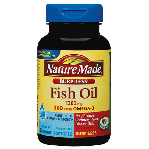 Nature made burp less fish oil 60 liquid softgels for Liquid fish oil for dogs