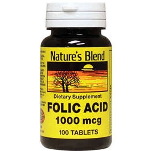 Nature's Blend Folic Acid 1000 mcg  - 100 Tablets