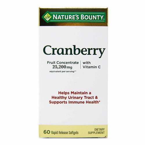 Nature's Bounty Cranberry with Vitamin C 25,200 mg  - 60 Rapid Release Softgels - 318776_front2020.jpg