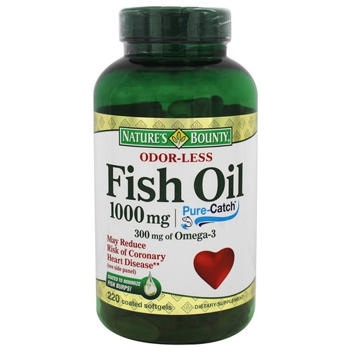 Nature's Bounty Odor-Less Fish Oil  - 1,000 mg - 220 Coated Softgels