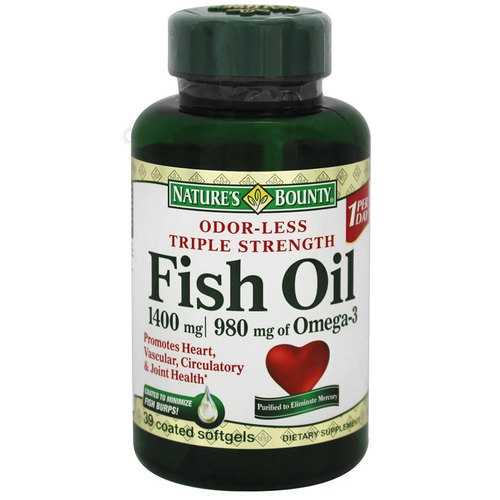 Nature's Bounty Odor-Less Triple Strength Fish Oil  - 1,400 mg - 39 Coated Softgels