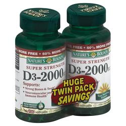 Nature's Bounty Super Strength Vitamin D3‑2000 Twin Pack