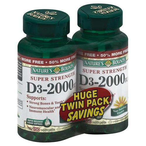 Super Strength Vitamin D3‑2000 Twin Pack