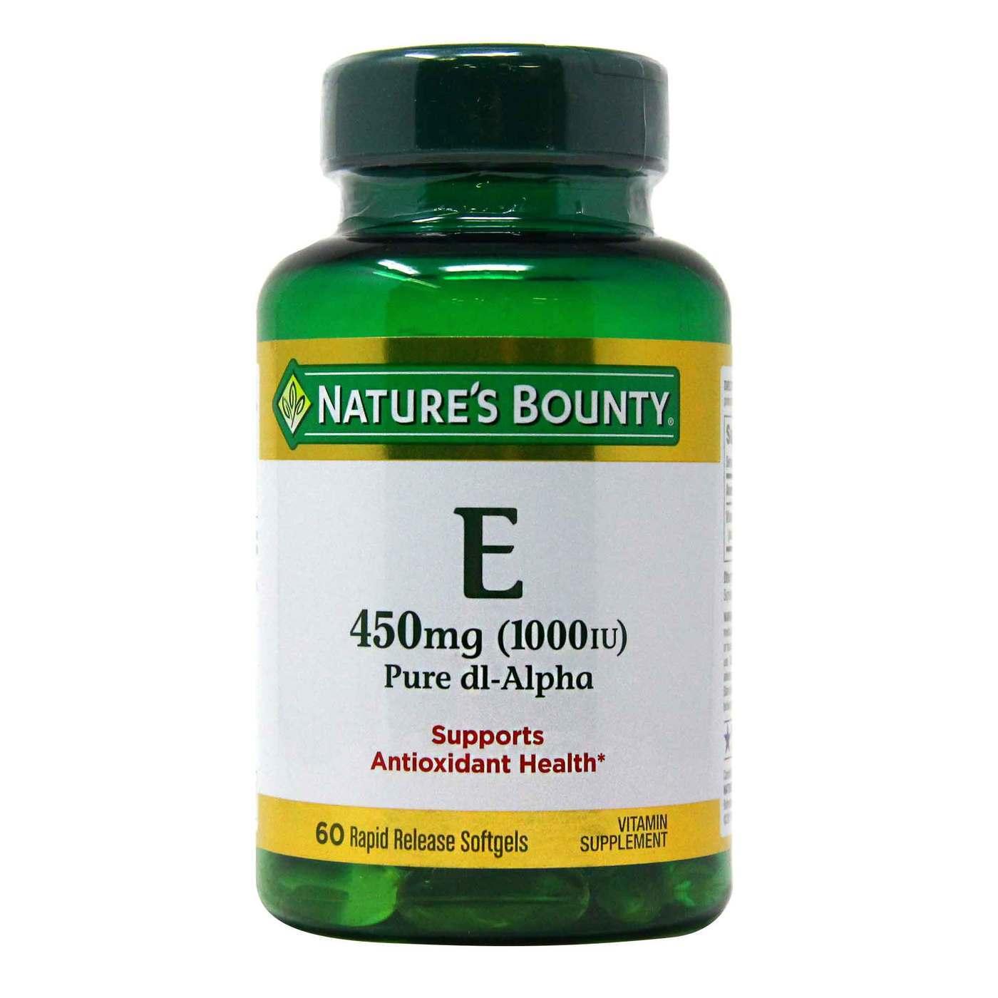 Nature S Bounty Vitamin E Dl Alpha 1000 Iu 60 Softgels Evitamins Com