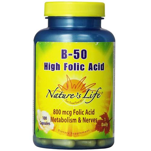 Nature's Life B-50 High Folic Acid  - 100 Caps - 50428_01.jpg