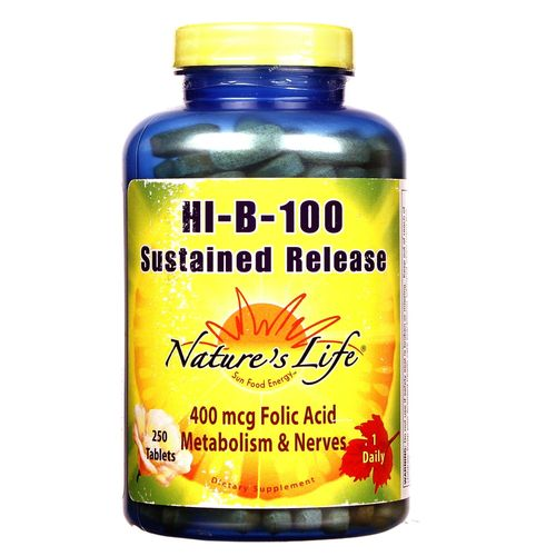 Nature's Life Hi-B-100 Sustained Release  - 250 Tablets - 040647001497_1.jpg
