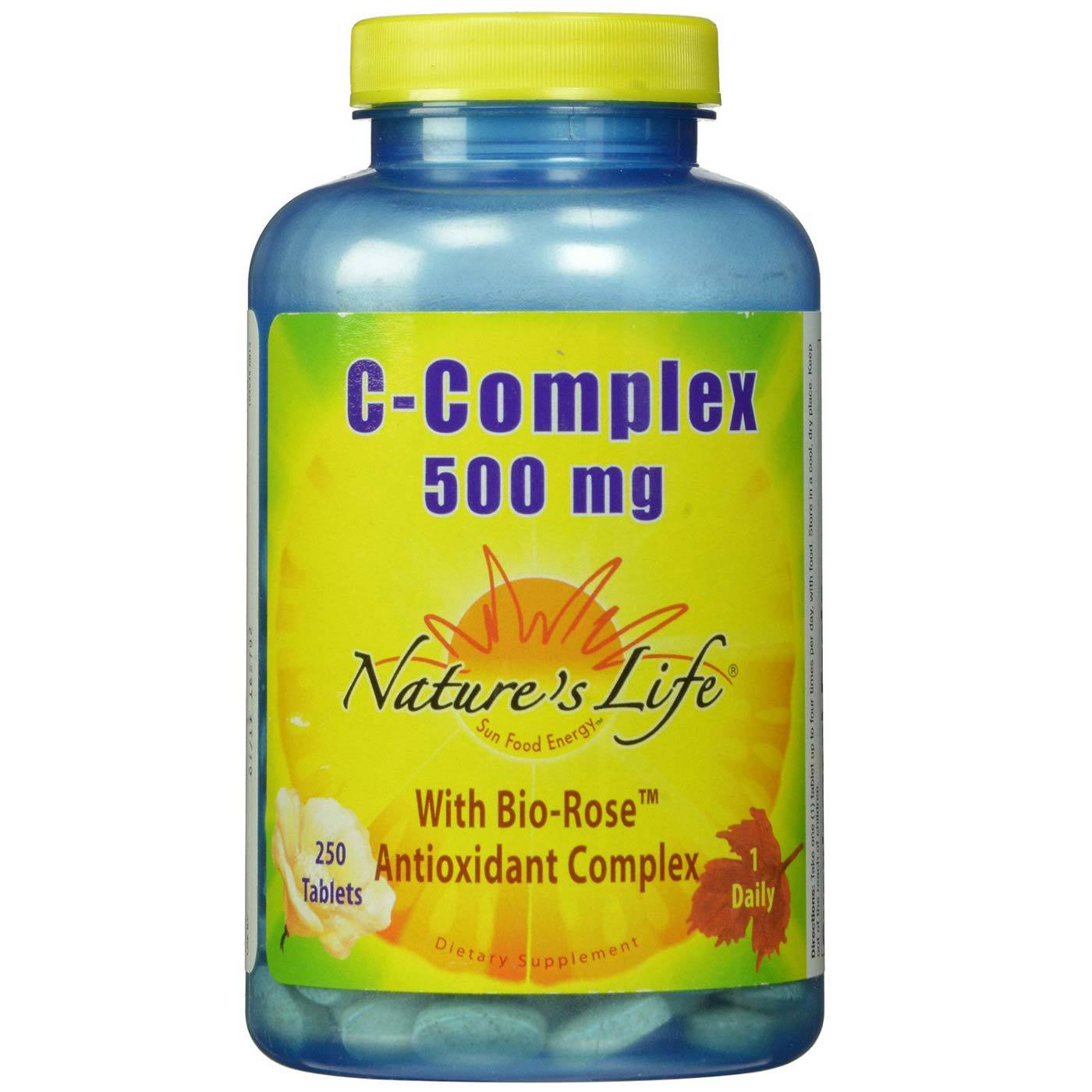 Nature S Life Vitamin C Complex 500 Mg 250 Tablets Evitamins الإمارات العربية المتحدة
