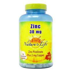 Nature's Life Zinc Picolinate 30 mg Plus 2 mg Copper