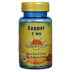 Nature's Life Copper 2 mg  - 100 Caps