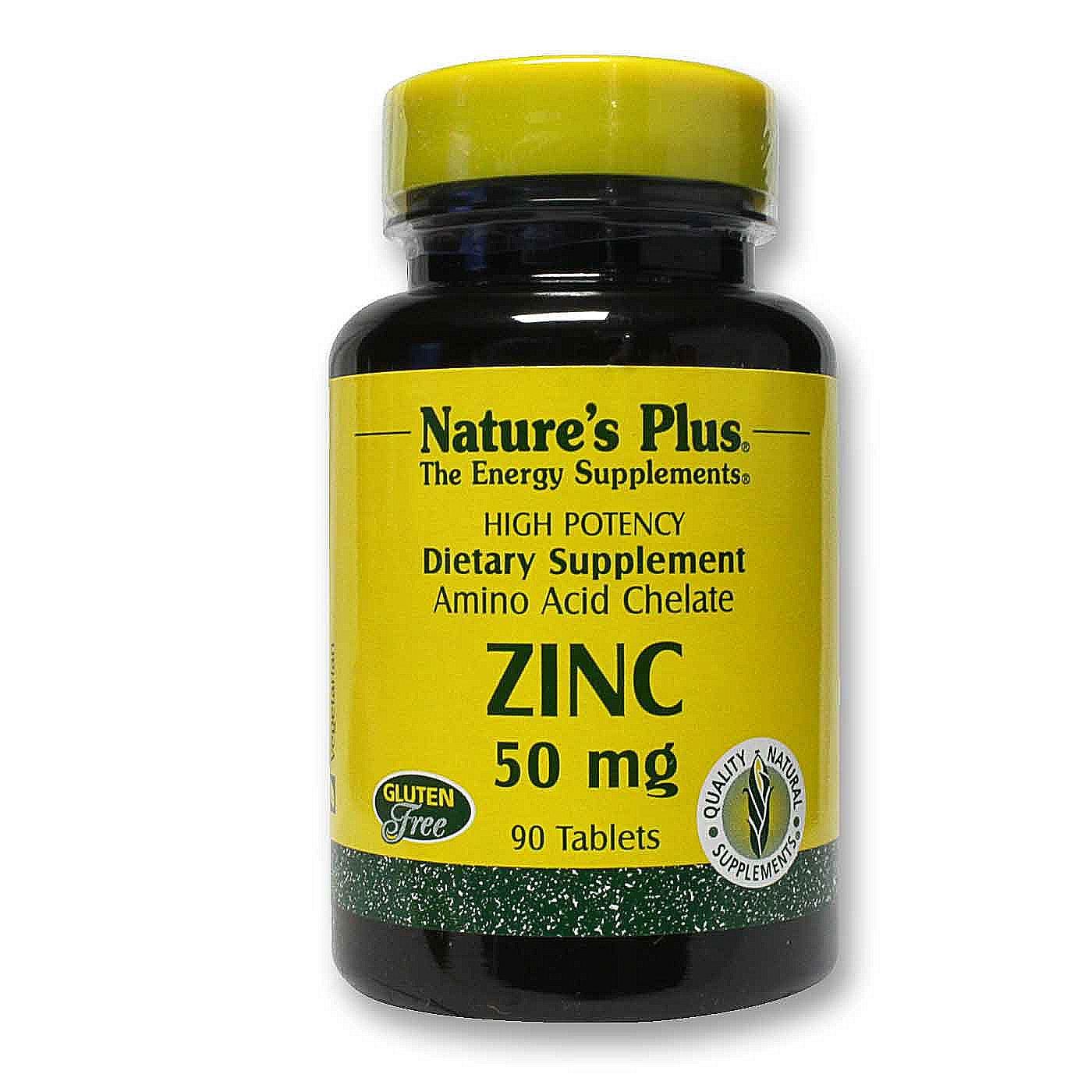 Nature's Plus Zinc 50 mg - 90 Tablets - eVitamins.com