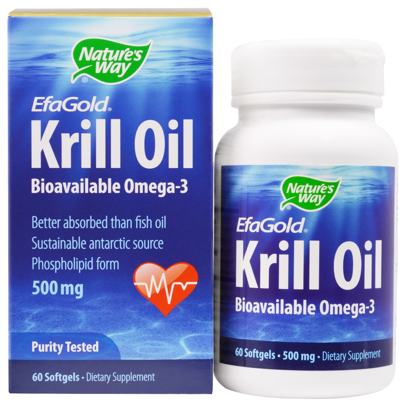 Nature 39 s way efagold krill oil 500 mg 60 softgels for Krill or fish oil