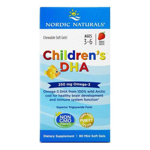 Nordic Naturals Children's DHA Strawberry - 225 mg - 90 Chewable Softgels - 15194_front2019.jpg