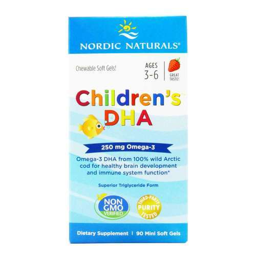 Nordic Naturals Children's DHA Strawberry - 225 mg - 90 Chewable Softgels - 15194_front2020.jpg