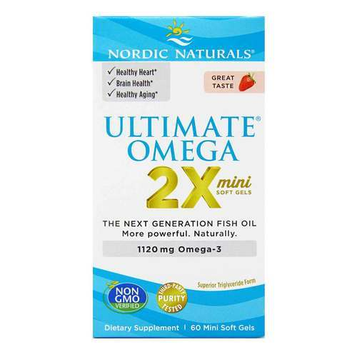 Nordic Naturals Ultimate Omega 2X Strawberry - 1120 mg - 60 Mini Softgels - 23866_front2020.jpg