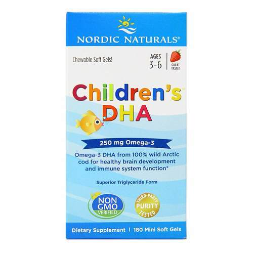Nordic Naturals Children's DHA Strawberry - 225 mg - 180 Chewable Softgels - 6199_front2020.jpg