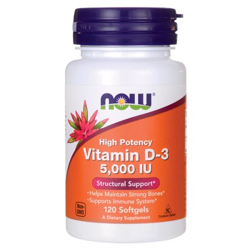Now Foods Vitamin D-3  - 5000 IU - 120 Softgels - 15354_front.jpg