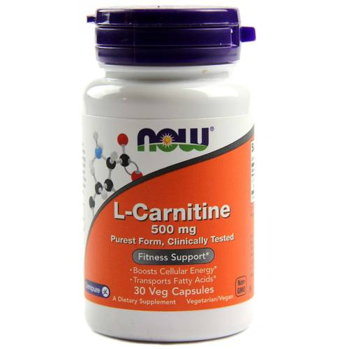Now Foods L-Carnitine  - 500 mg - 30 Vegetarian Capsules - 15356_1.jpg