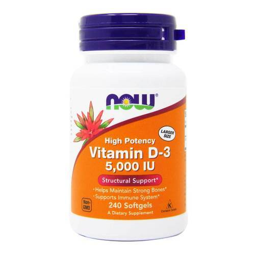 Now Foods Vitamin D-3  - 5000 IU - 240 Softgels - 33952_front2020.jpg