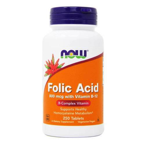 Now Foods Folic Acid 800 mcg with Vitamin B12 - 250 VTablets - 33974_front2019.jpg