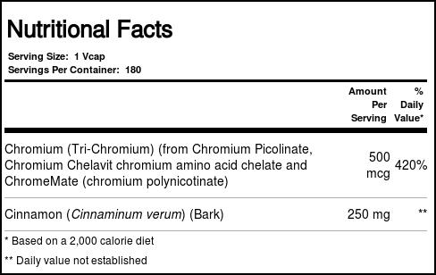 2b9fa3f4c Now Foods Tri-Chromium 500 mcg plus Cinnamon - 180 VCapsules ...