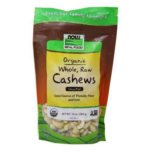 Now Foods Whole, Raw Cashews Organic - 10 oz (284 g) - 34636_front2020.jpg