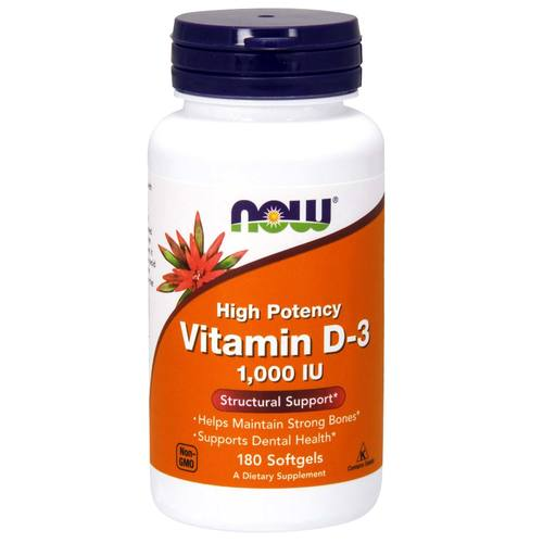 Now Foods Vitamin D-3 - 1000 IU - 180 Softgels