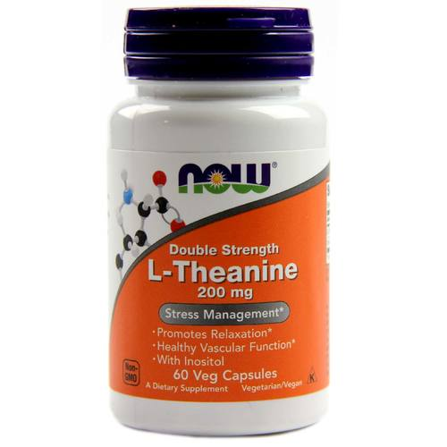 Now Foods L-Theanine - 200 mg - 60 Vegetarian Capsules