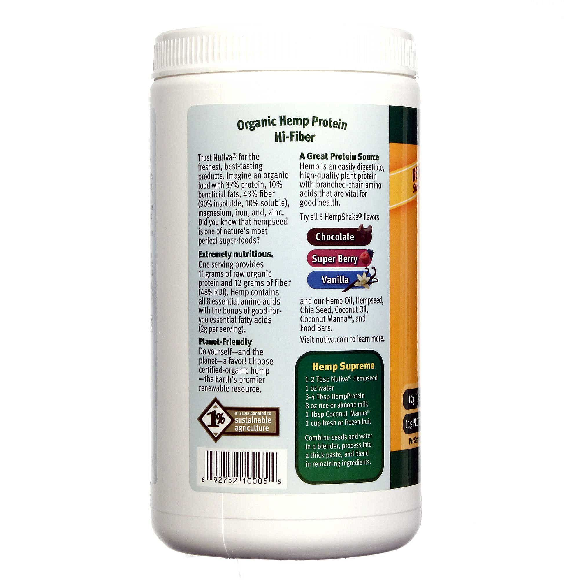 Nutiva Organic Hemp Protein Plus Fiber Natural - 16 oz