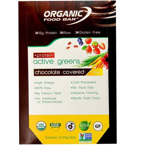 Organic food bar active greens chocolate covered 12 bars for Organic food bar
