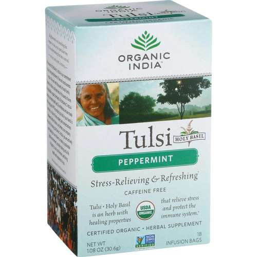 Органический India Peppermint Tulsi Tea - 18 Tea Bags - 33584_a.jpg
