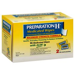 Preparation H Medicated Wipes