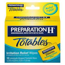 Preparation H Totables Irritation Relief Medicated Wipes