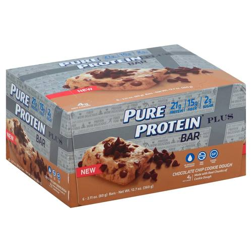 Pure Protein Plus Bars Chocolate Chip Cookie Dough - 6 - 2.11 oz Bars - 276359_a.jpg