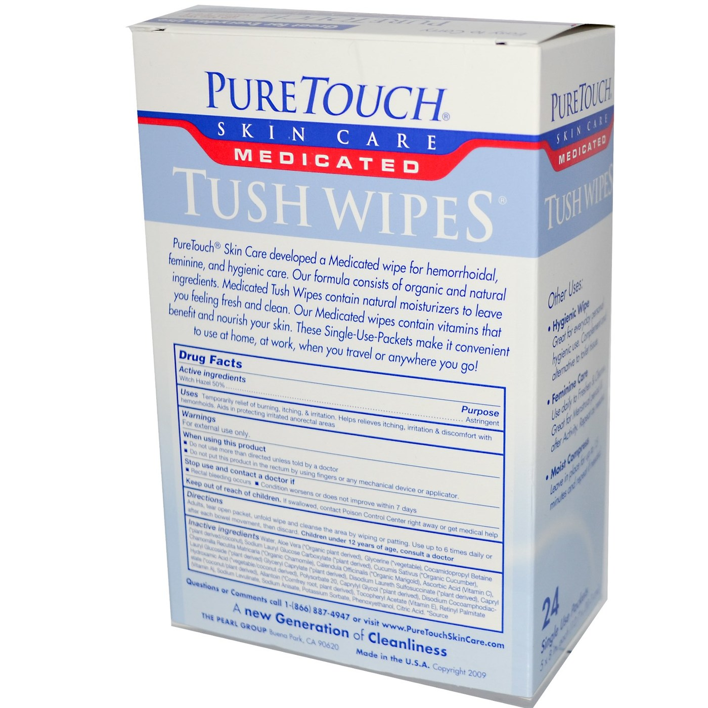 Puretouch Skin Care Medicated Tush Wipes - 24 Single Use Packets