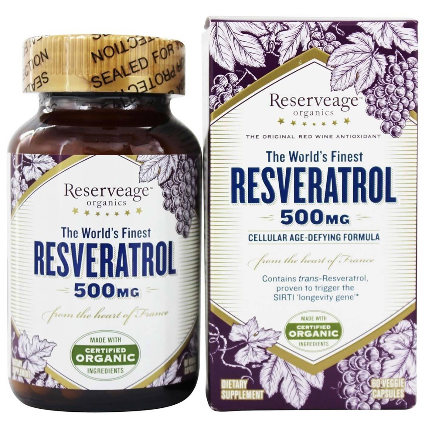 Reserveage Organics Resveratrol 60 Veggie Capsules Evitamins Com
