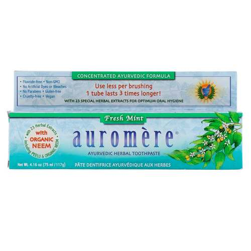 Savesta Auromere Herbal Toothpaste Fresh Mint - 4.16 oz (75 ml/117 g) - 14077_front.jpg