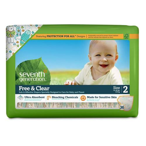 Seventh Generation Free and Clear Diapers Stage 2 (12-18 lbs) - 36 Diapers