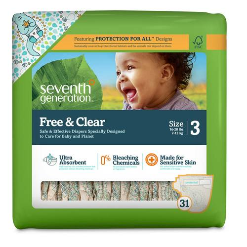Seventh Generation Free and Clear Diapers Stage 3 (16-28 lbs) - 31 Diapers