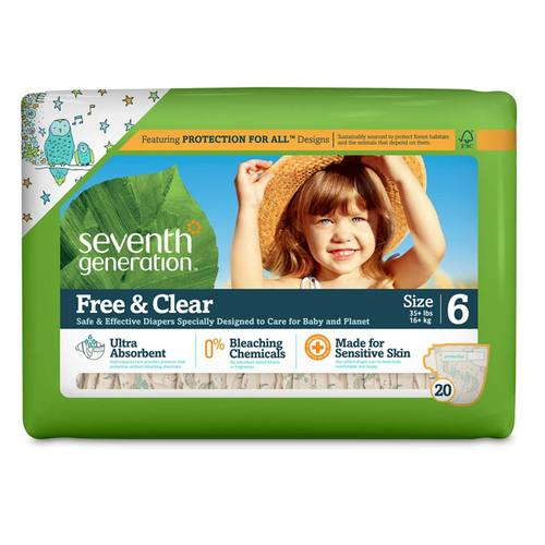 Seventh Generation Free and Clear Diapers         Stage 6 (35+ lbs) - 20 Diapers
